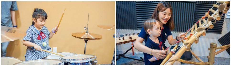 Trẻ trực tiếp tiếp xúc với các nhạc cụ truyền thống