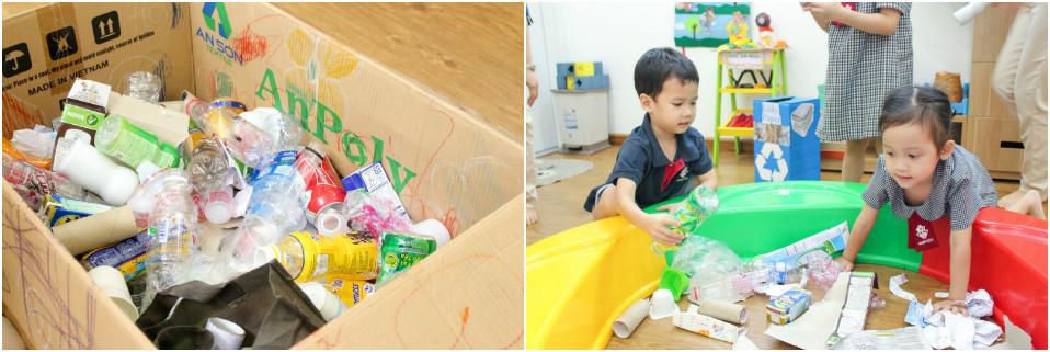 Học sinh Kindy City học về rác thải
