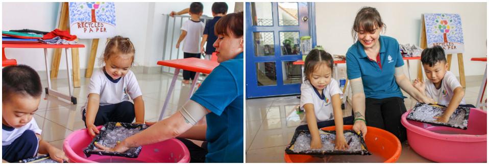 Học sinh Kindy City trong tiết học tái chế giấy cũ
