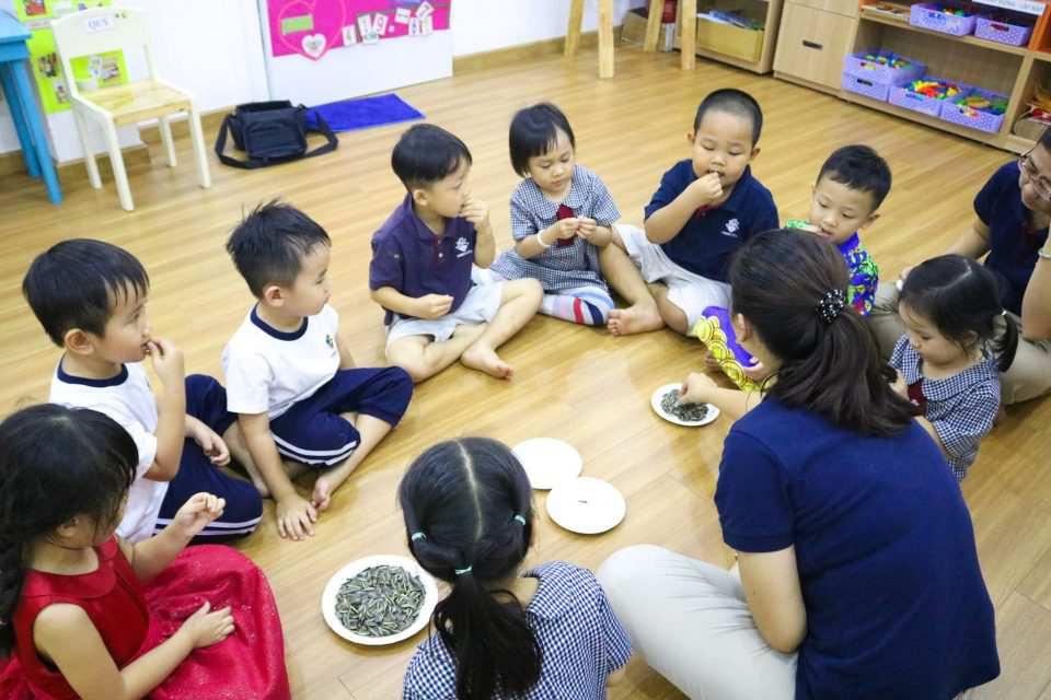 Các bé đang học cách ăn hạt hướng dương an toàn