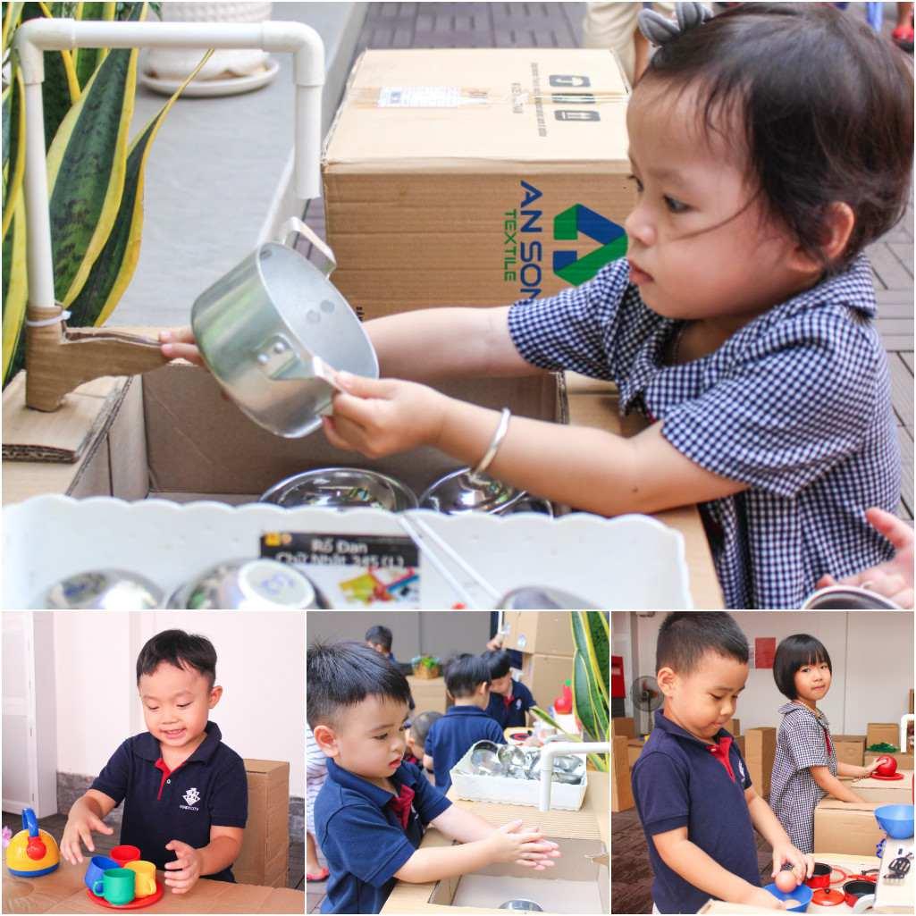 Bé học kỹ năng vào bếp từ những hoạt động học qua chơi tại Kindy City