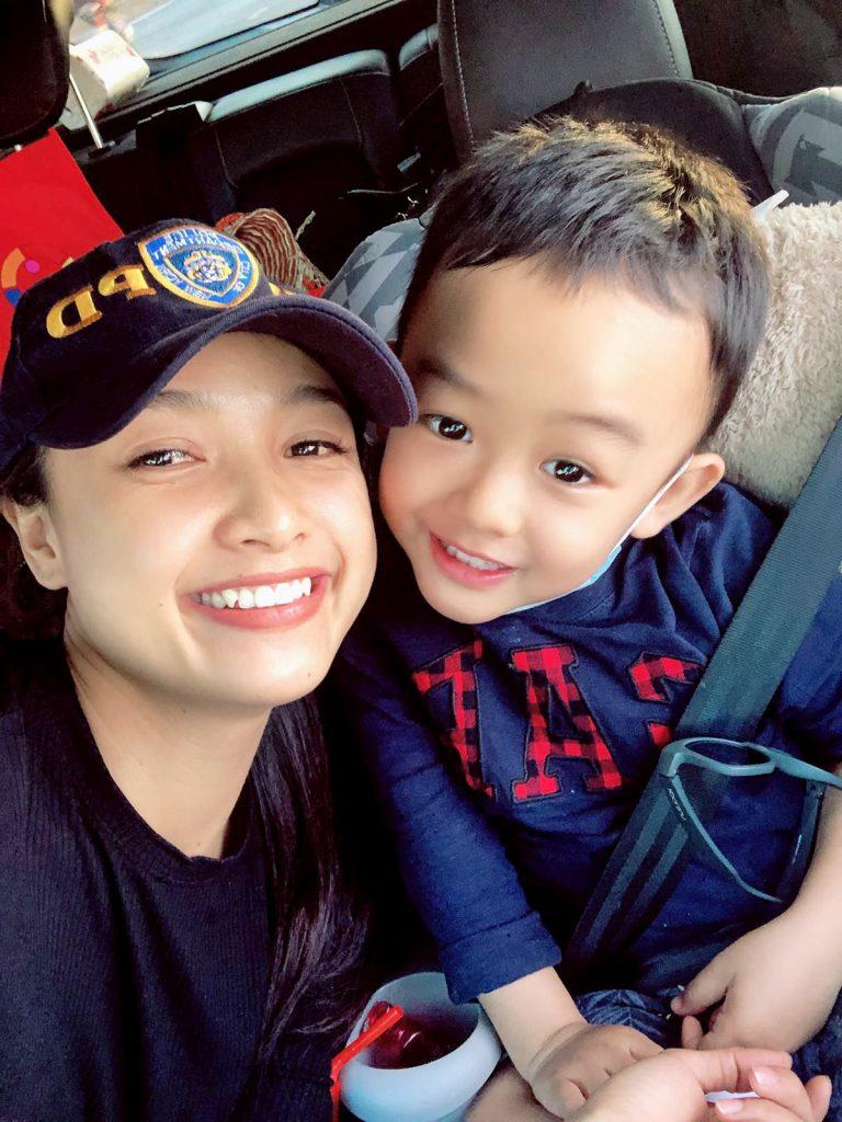 Diễn viên Lê Bê La và con trai Khai Tâm